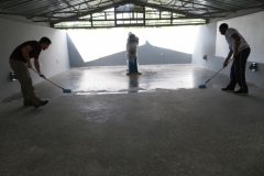 Sealing the floor of the observatory
