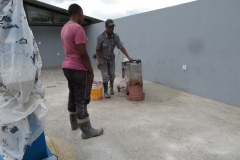 Preparing the flloor of the observatory for sealant