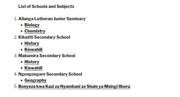 MMAO homework assignments for five schools