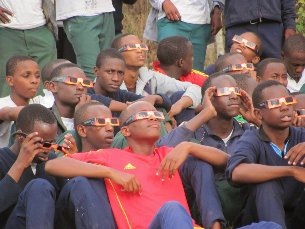 MMAO students watching an eclipse